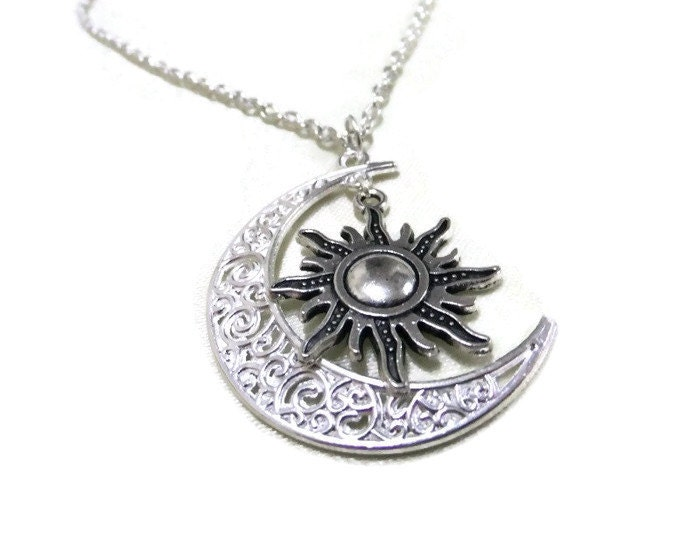 Silver moon and sun necklace crescent moon necklace zoom mozeypictures Gallery