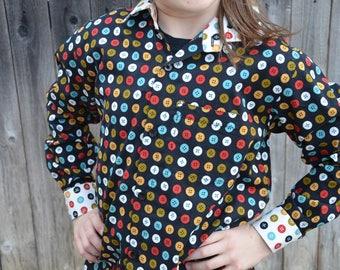 Youth Boys Handmade Organic Cotton Button Down Dress Shirt - Long Sleeve Button Down with Accent Button Theme Collar - Knap 3105