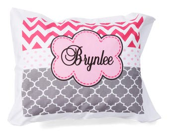 Personalized Pink and Gray Standard Pillowcase