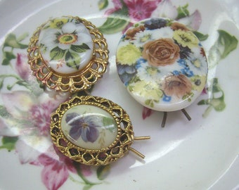 Sale...Three Vintage Enamel Flower Hair Barrettes...Scalloped Gold Borders...Roses...Violets...Retro Hair Accessories