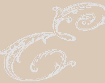 E monogram -  cross stitch,french country,pillow,embroidery pattern,needlepoint,diy,linen,make it personal,cushion,Anette Eriksson Design