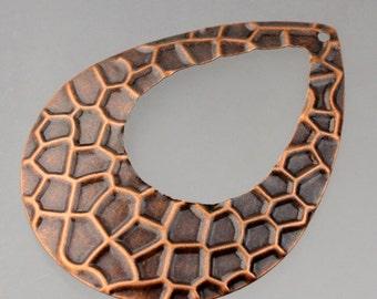 10 pcs of Antiqued copper filigree drop 65x50mm