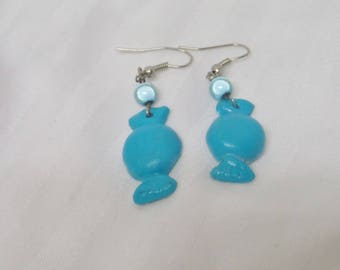 Turquoise blue candy earrings