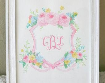 Custom Watercolor Crest - Floral, Monogram