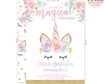 Printable custom invitations and party by pixelperfectionparty unicorn birthday invitation magical unicorn invitation floral unicorn invitation whimsical dreamy face unicorn pink gold unicorn stopboris
