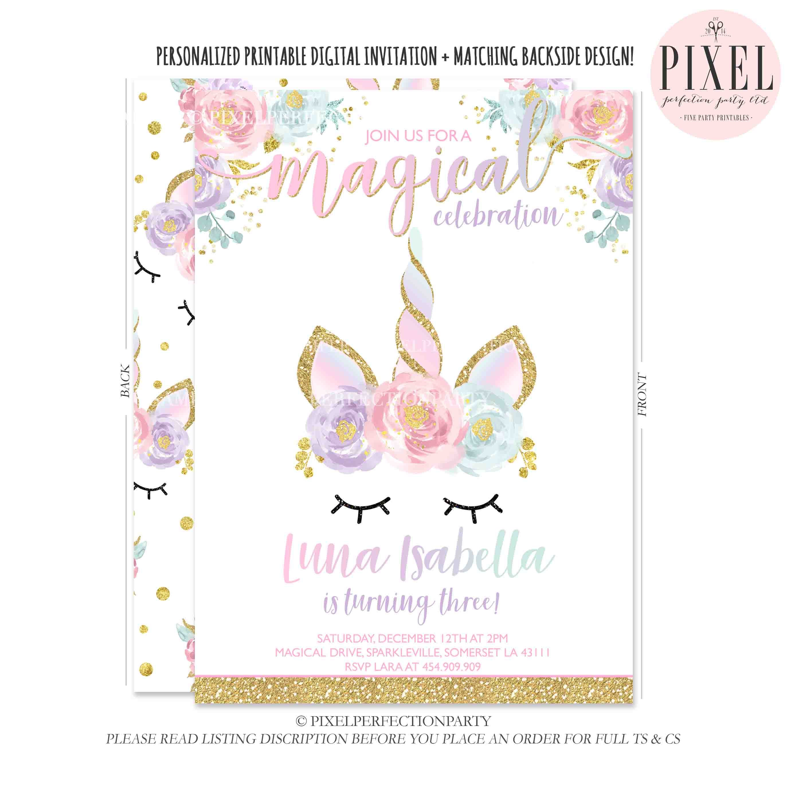 Unicorn Birthday Invitation Magical Unicorn Invitation Floral