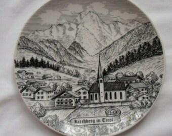 Vintage Souvenir Plate of Kirchberg in Tirol, Austria - Black and White