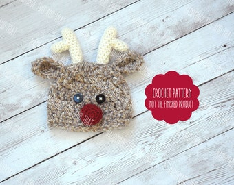 CROCHET PATTERN - Crochet reindeer hat, newborn christmas pattern, newborn reindeer hat, christmas photo prop