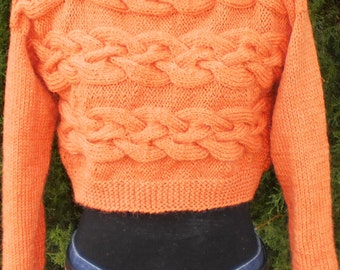 CABLE CROP JERSEY - No. 1301 -  12 ply triple knit, pdf knitting pattern, sideways cables, short jersey, long jersey, cable sweater, crop