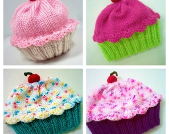 Adult Size Cupcake Hat - Hand Knit Handmade - Choose your Colors for Frosting and Cake