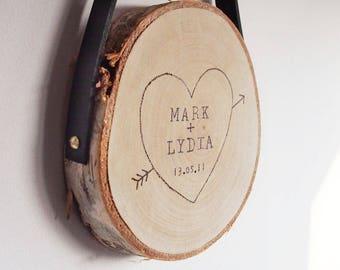custom wedding gift, personalised wedding keepsake, personalised rustic wood slice, personalised gift, wedding gift for couples