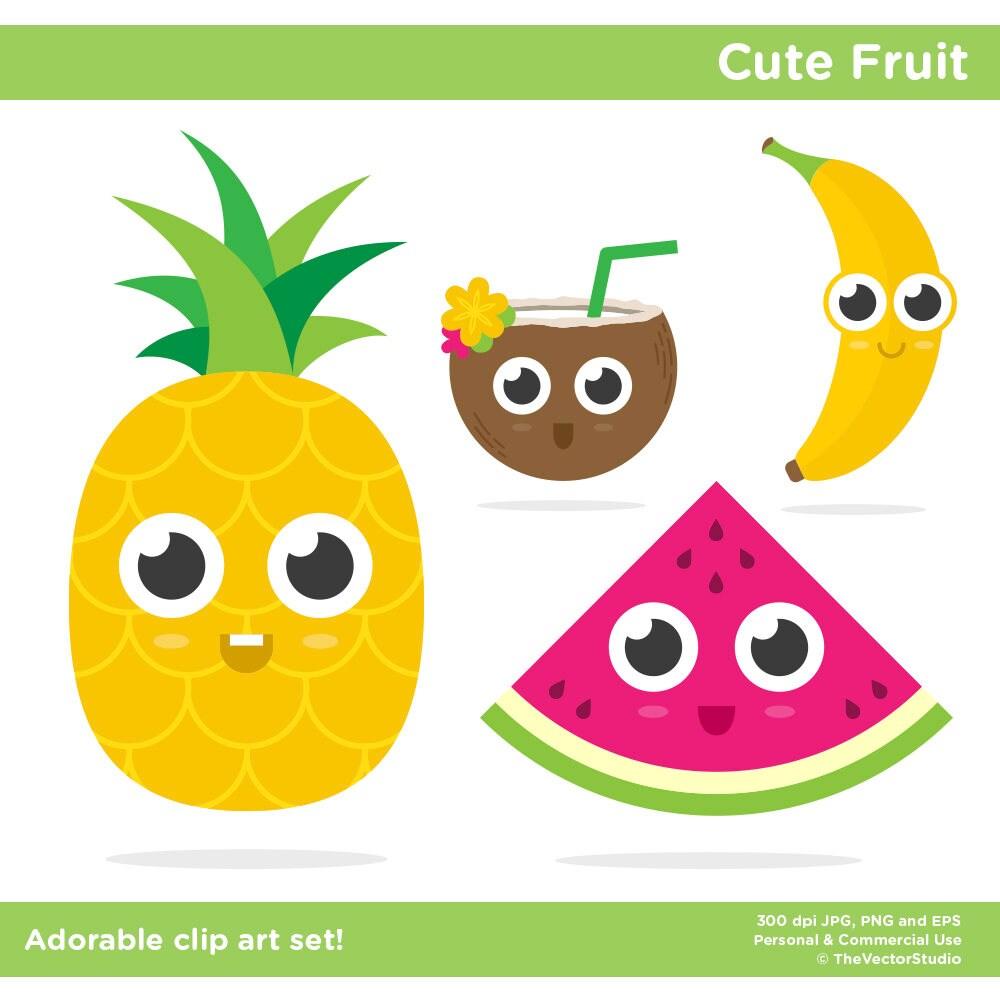 food clip art kawaii fruit clip art food clipart pineapple clip rh etsystudio com