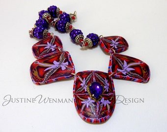 Purple Jewel Statement Necklace, Polymer Clay Cane Slice Pendants, Game of Thrones