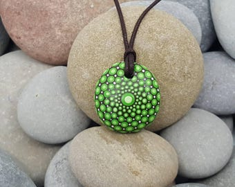 Green Mandala Necklace - Unique Necklace - Meditation Mandala Rock - Hand-Painted Necklace - Paint Rock - Boho Jewellery - Boho Jewelry