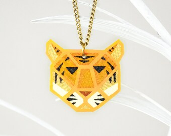 King Tiger Necklace, Yellow Neon Tiger Pendant, Fluorescent UV Jewelry Glowing in Black Light, Jungle Necklace, Jungle Jewelry, Neon Jewelry