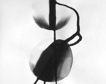 """A3 Modern Abstract Fine Art Black and White Ink Wash Painting 11.7x16.5 """" Untitled 1753"""""""