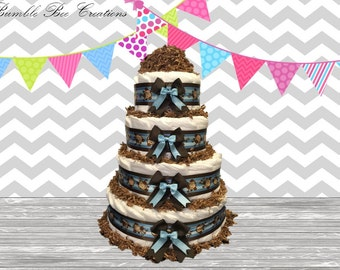 4 Tier Diaper Cake - Baby Shower Gift - Baby Shower Centerpiece - Monkey Blue and Brown Theme