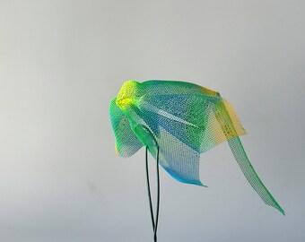 Metal bird sculpture, Contemporary metal art, bird figurines, abstract bird art, Decorative art, rainbow bird