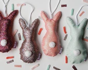 Bunny decoration-Felt bunny-rabbit decoration-hanging bunny-sparkly bunny-easter bunny-pastel bunny