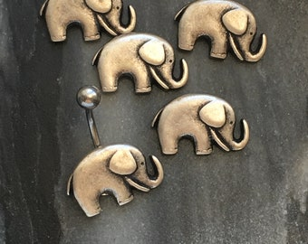 Silver Elephant Belly Ring.