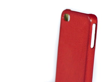 Iphone Leather Case Washed Aged for 4/4s or 5/5s to use as protection colour Red