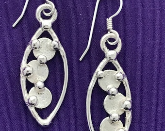 Small Dangle Earrings with Circles - Circles - Dots - Handcrafted Small Dangle Earrings - Textured Circles