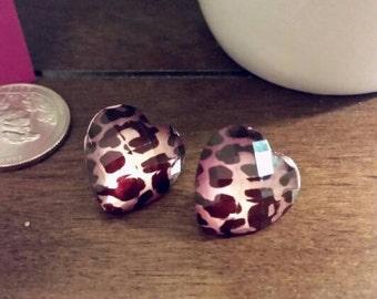 Jewel Cheetah Print Heart Stud Earrings