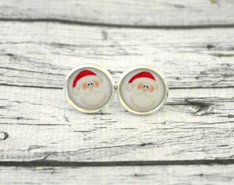 Jewelry, Santa Claus, 1.4 cabochons Stud Earrings pair cm diameter