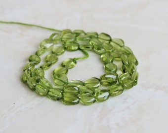 Peridot Gemstone Briolette Smooth Oval Nugget 8.5 to 9.5mm 24 beads