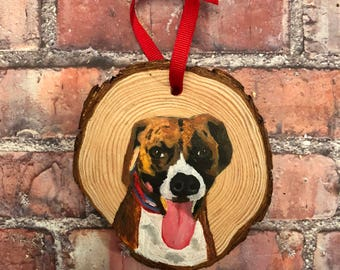 """Personalized Painted Pet Ornament on 3.5-4"""" Wood Round - Dog"""