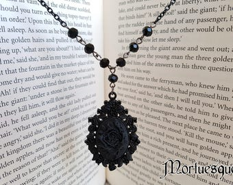 Black Rose Gothic Rosary Pendant Necklace with Black Chain