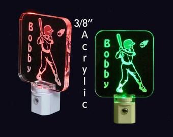 """Personalized Baseball Player  Night Light - Kids Lamp -Childrens gift,  3/8"""" acrylic"""
