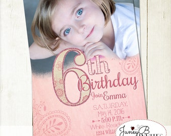 Girl Birthday Invitation, Number Invite, Glitter Birthday