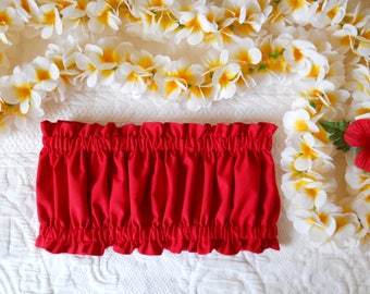 Girls Hawaiian Hula Top in Red / Keiki Bandeau Style Hula Top