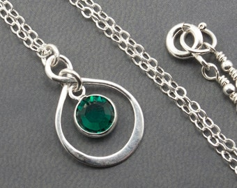 Jewelry Gift Infinity Necklace for New Mom May Birthstone Necklace, May Birthday Gift May Birthday Necklace Emerald Necklace Sterling Silver