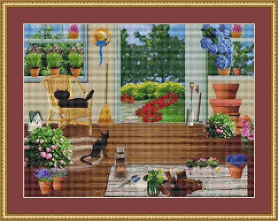Cats In The Garden Shed Cross Stitch Pattern /Digital PDF Files /Instant downloadable