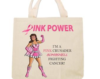 Pink Crusader Breast Cancer Awareness  Tote Bag Bombshell  Design 2