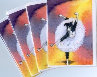4 x Border Collie dog ballet greeting cards ballerina dancing theatre whirl tutu dancer Nat King Cole song sheepdog Susan Alison Art orange
