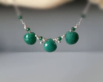 Trio Emerald Necklace, Natural Emerald Heart Drops and Sterling Silver Jewelry, Dainty Necklace, Precious Gemstone Necklace, May Birthstone