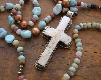 Southwestern boho cross necklace - Gifted - knotted gemstone necklace, boho jewelry, long necklace, larimar necklace long beaded necklace