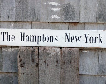 Classic The Hamptons New York sign on rough sawn wood hand-painted distressed rustic MADE 2 ORDER