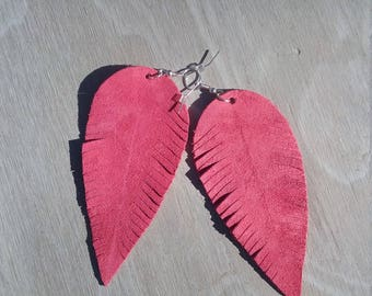 Pink Leather Feather Earrings,Large Earrings,Leather Earrings,Feather Earrings,Bohemian Earrings,Gypsy Earrings,Nature Earrings