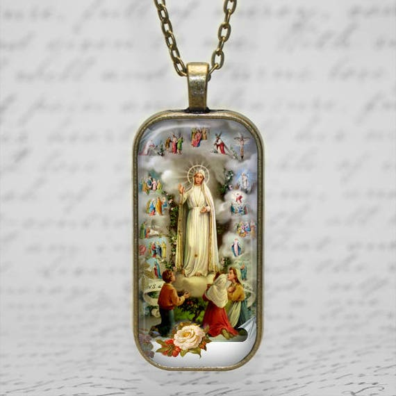 Our Lady of Fatima Pendant with 24 inch chain - Our Lady of Fatima Necklace, seers of Fatima, apparitions of Our Lady 1917, Pray the rosary