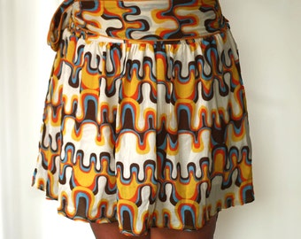 Spring retro Skirt in orange, mustard yellow, blue and brown abstract mini skirt.
