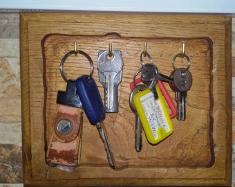 Hand-made oak key hanger/Key ring