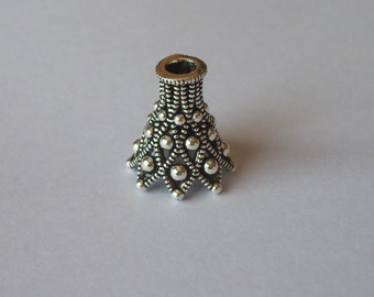 1 Sterling Silver One Of Its Kind Filigree Large Focal Bali Bead Cap Cone