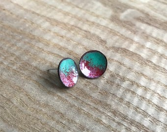Mint and cherry enamel studs