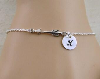 Personalized arrow bracelet, initial arrow bracelet, sterling silver arrow bracelet,personalized sterling silver arrow bracelet,Phi Beat Phi