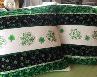 St patricks quilted pillow cover