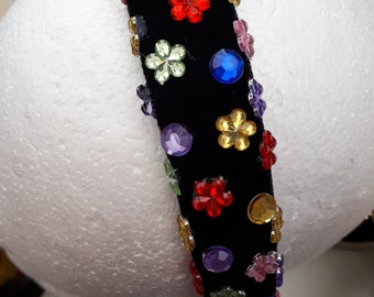 One off hand decorated velvet Head Bands - Jewelled flowers & Circles